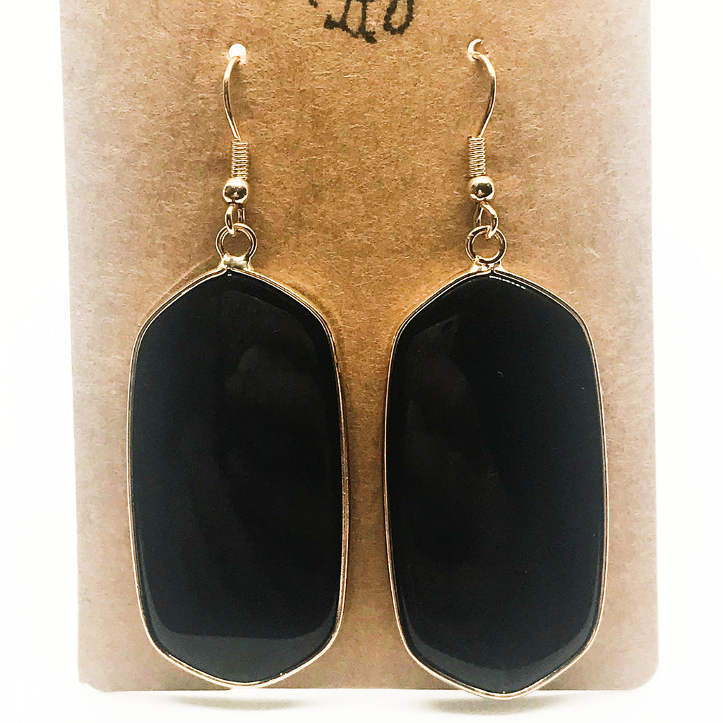 Precious Stone Drop Earring-Black