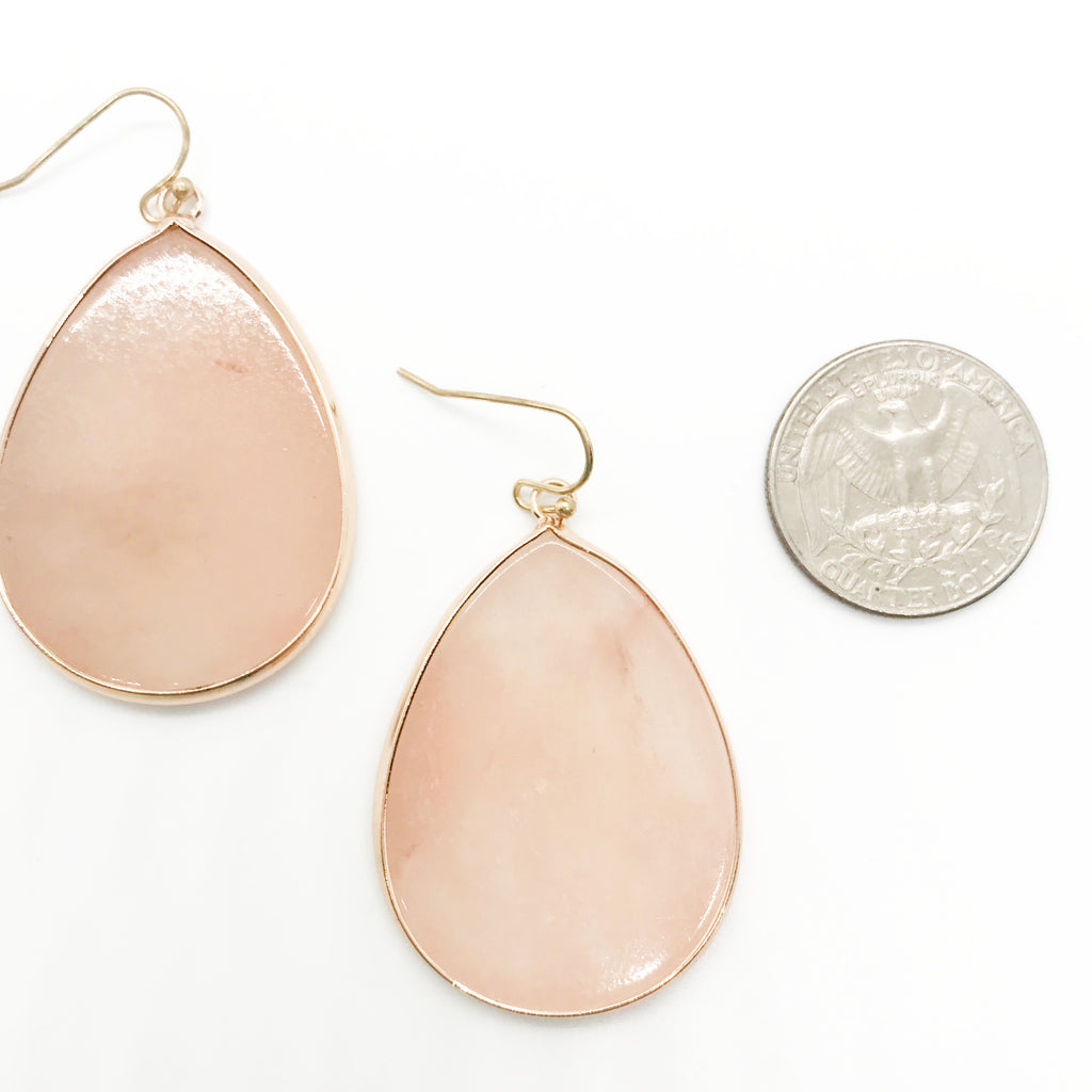 Semi Precious Stone Tear Drop Earring-Sweet Pink