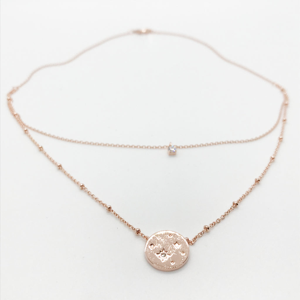 Starry Night Layered Necklace-Rose Gold