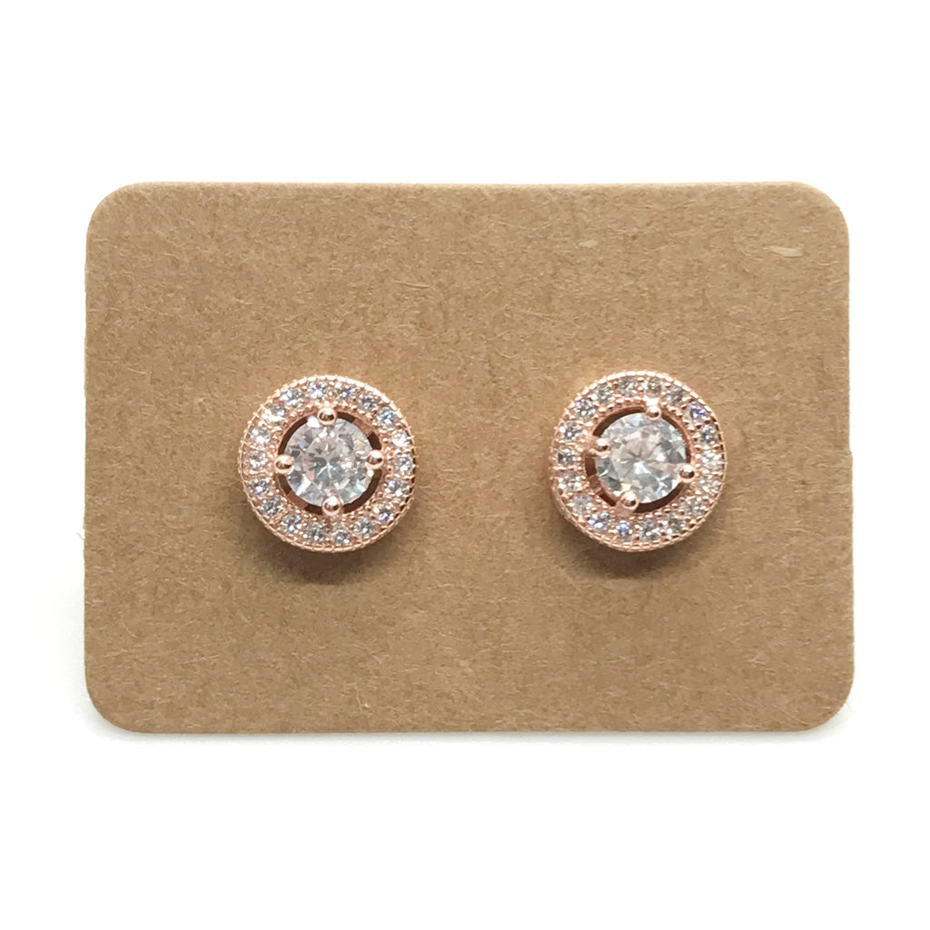 Sterling Silver Rhinestone Stud Earring-Rose Gold