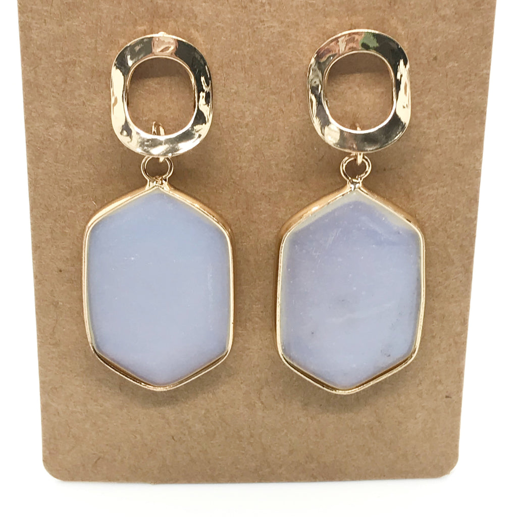 Hexagon Stone Earring-Iridescent