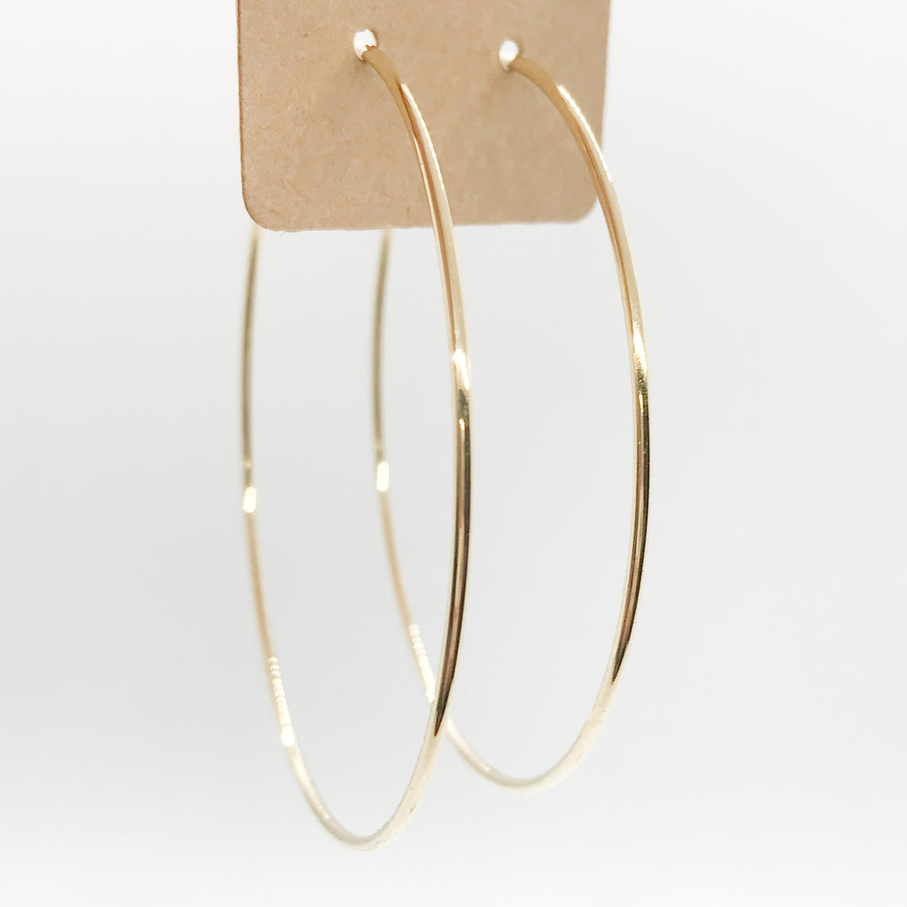 14 Kt Gold Dipped Classic Hoops-Gold
