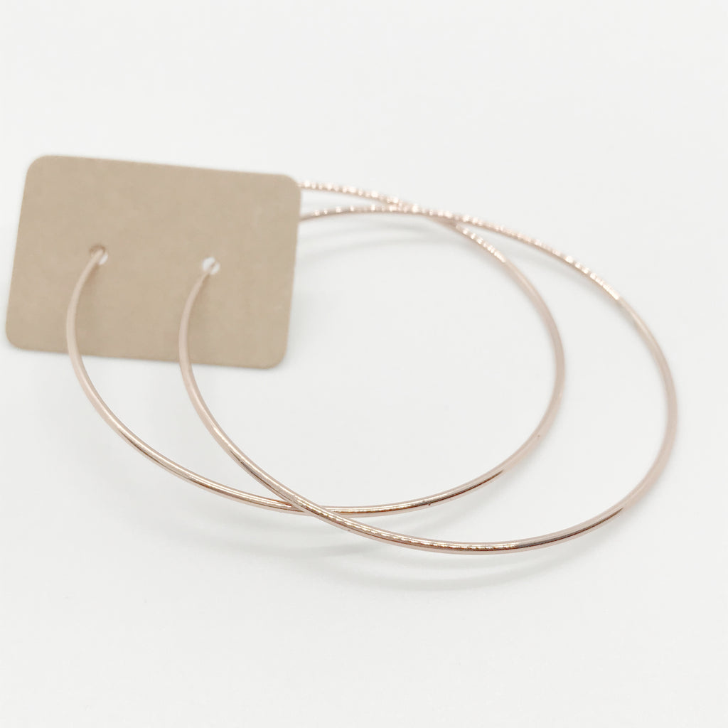 14 Kt Rose Gold Dipped Classic Hoops-Rose Gold