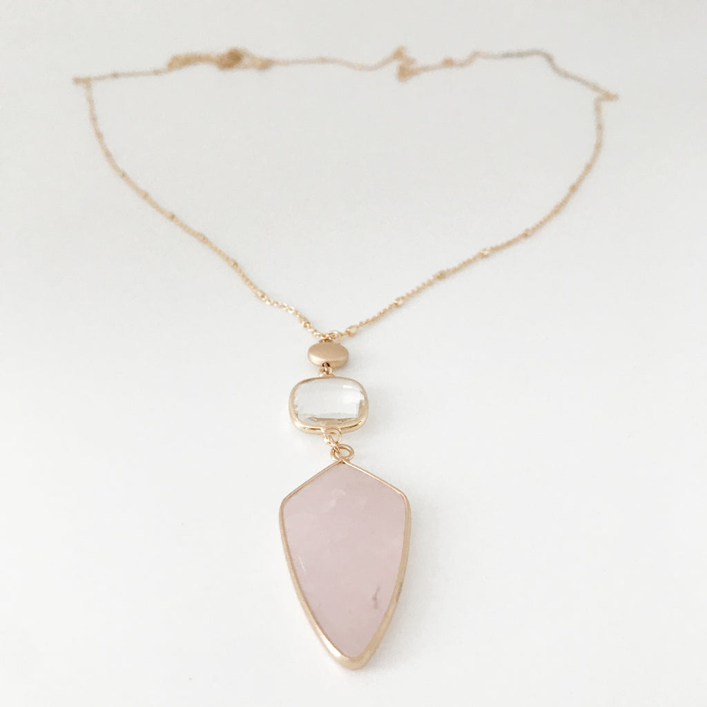 Semiprecious Pink Stone Pendant Necklace-Arrowhead