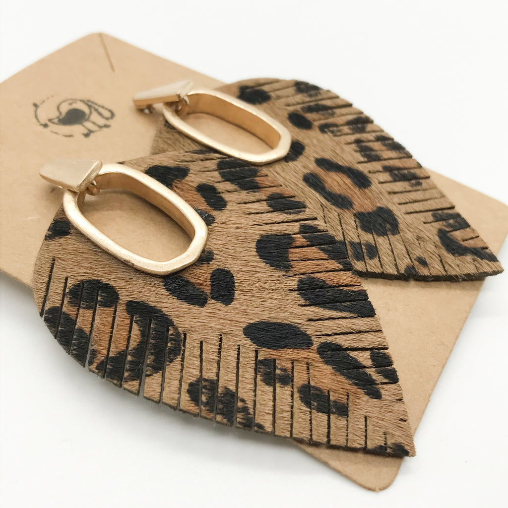 Leather Leopard Print Leaf Earring