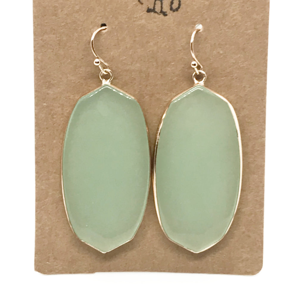 Precious Stone Drop Earring-Mint
