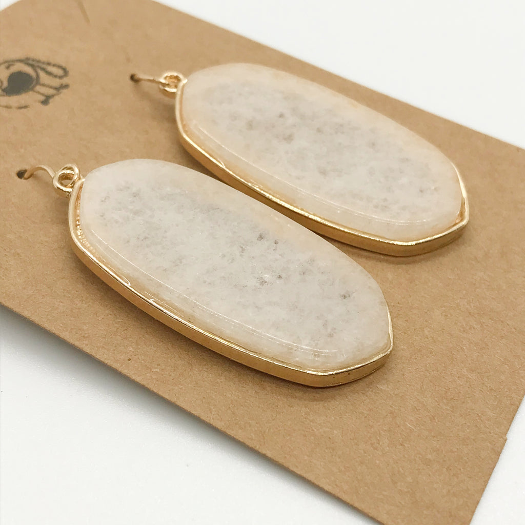 Precious Stone Drop Earring-White Gem