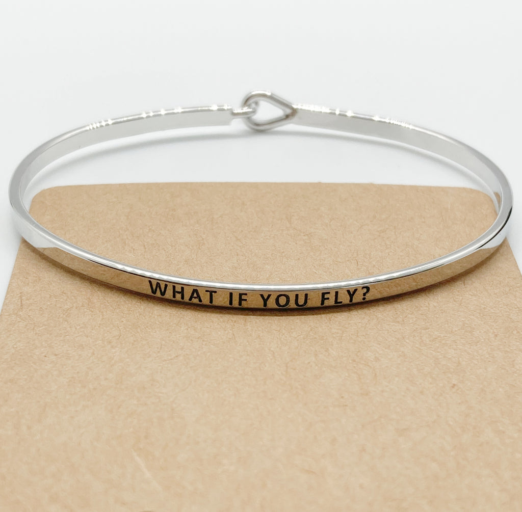 """WHAT IF YOU FLY"" Message Bracelet-Silver"