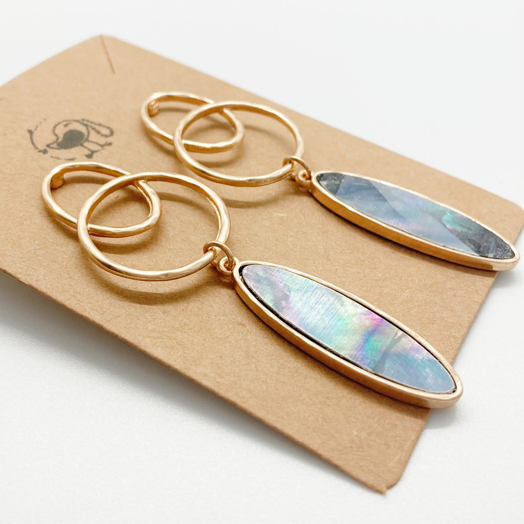 Mother of Pearl Drop Earrings-Blue