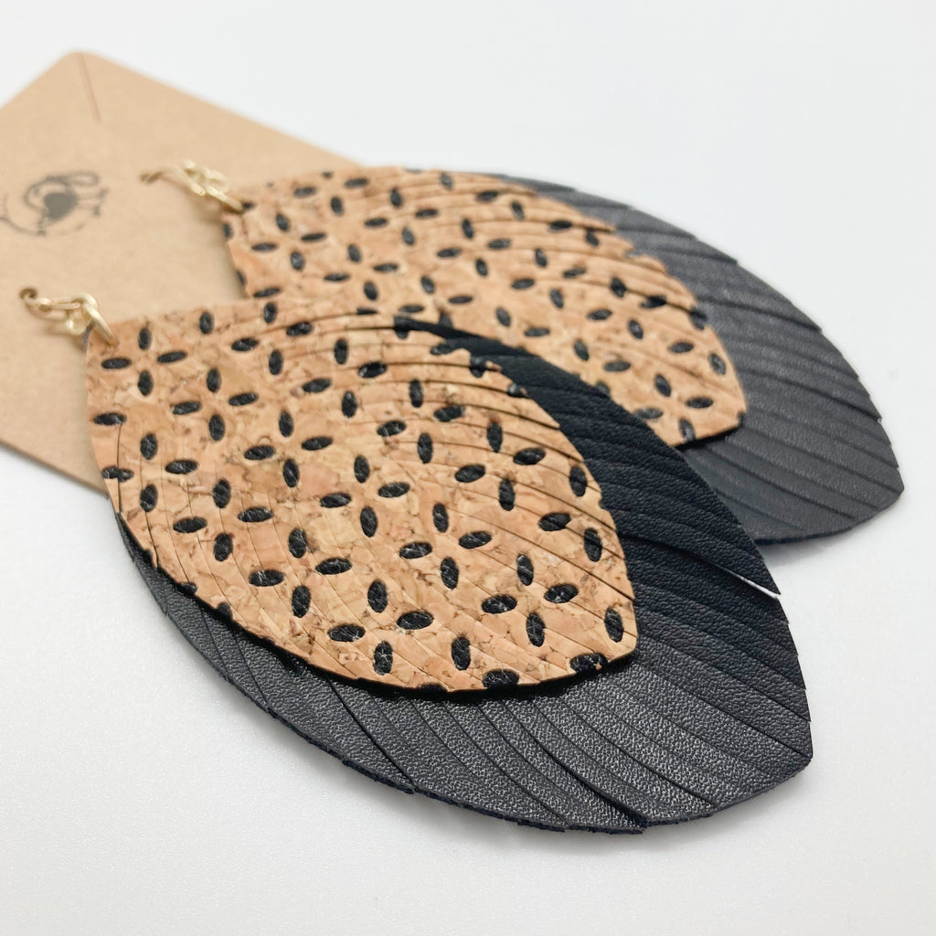 Large Cork & Leather Layered Leaf Earrings-Black