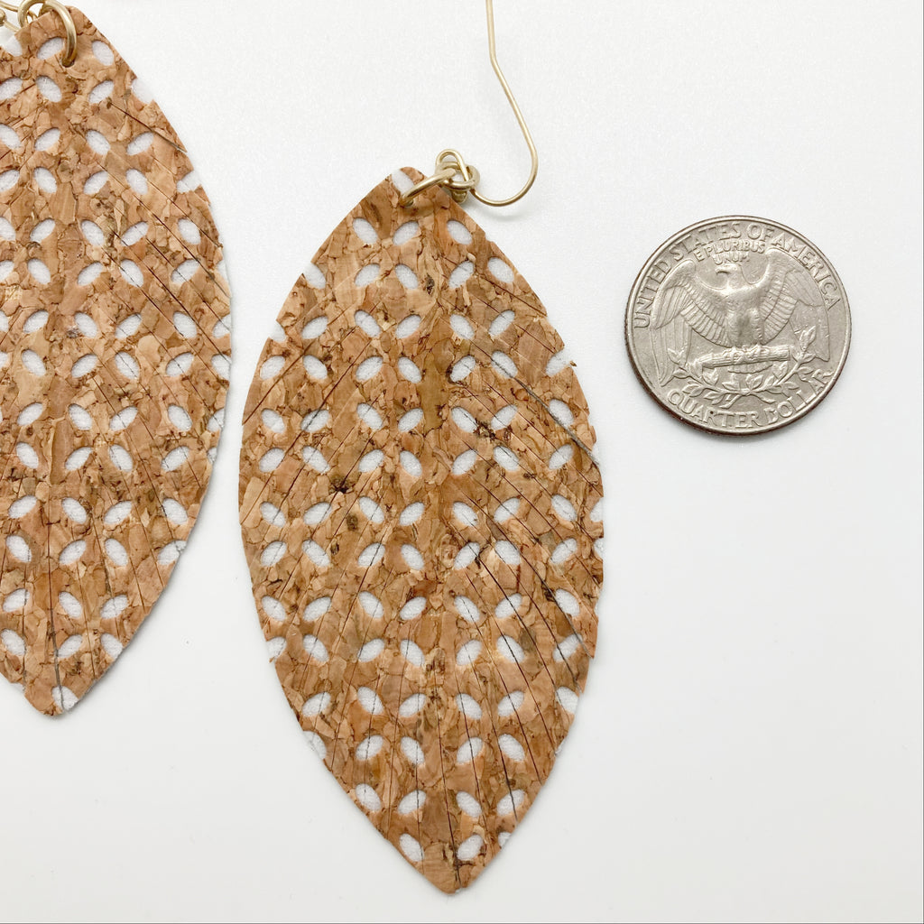 Soft Cork Layered Leaf Earring-White