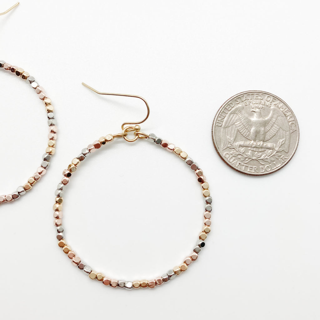 Tri Metal Beaded Hoop Earrings