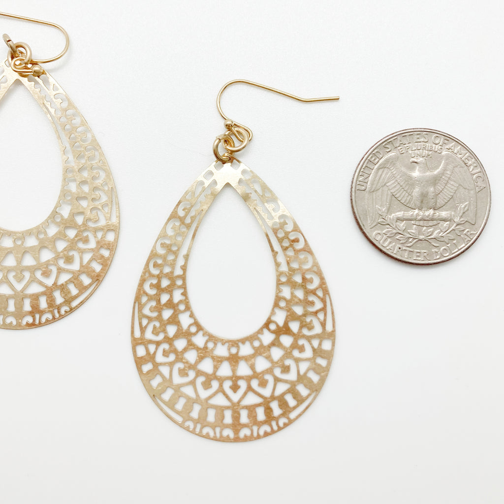 Filigree Tear Drop Earrings-Gold
