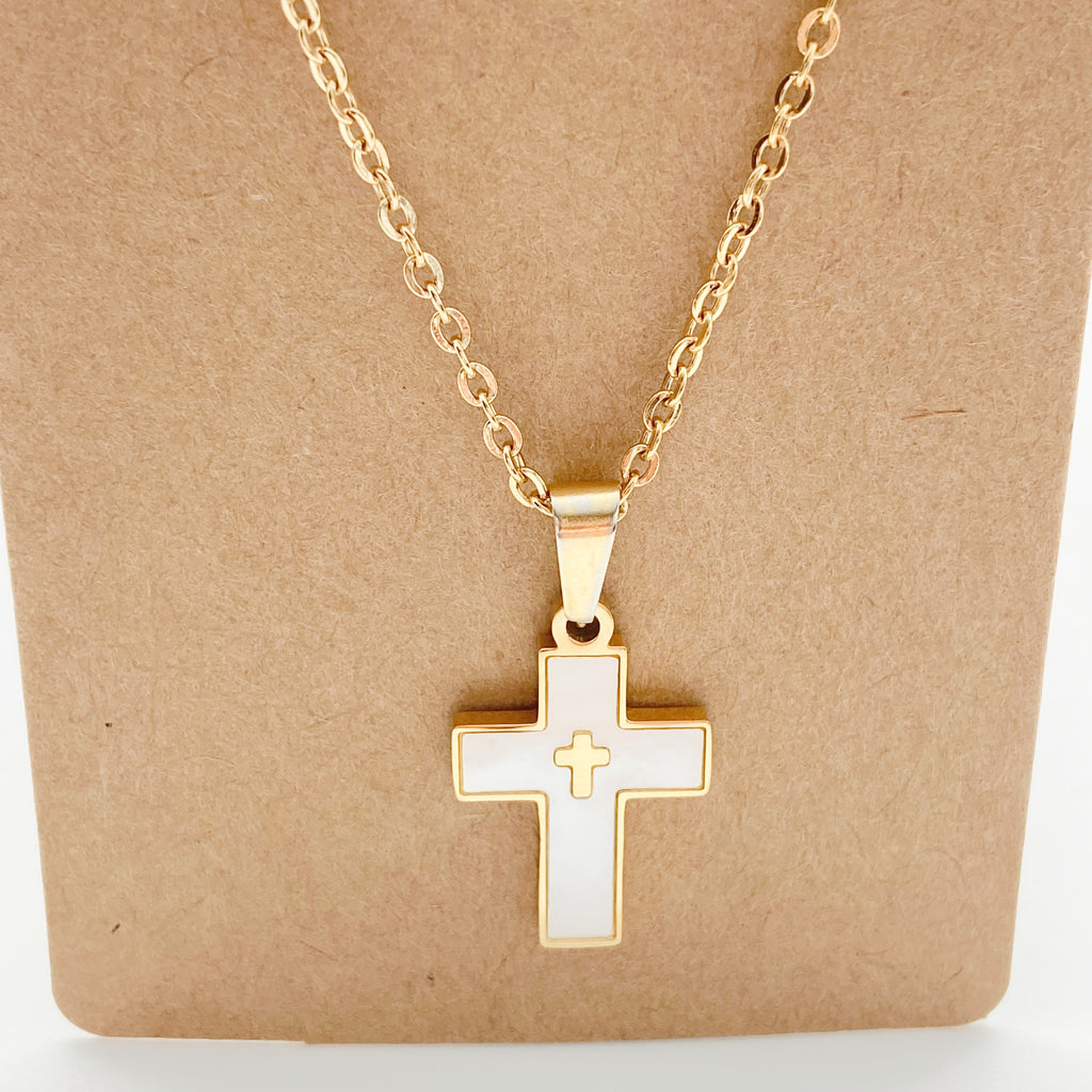 Mother of Pearl Cross Necklace-White