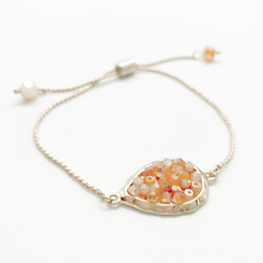 Glass Beaded Bracelet-Iridescent Peach