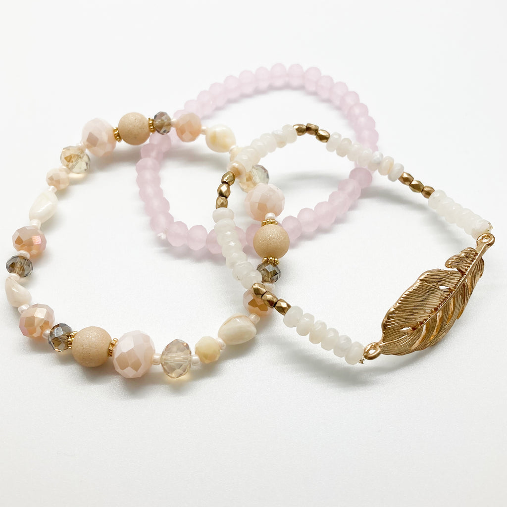 Beaded Bracelet Set-Gold Leaf