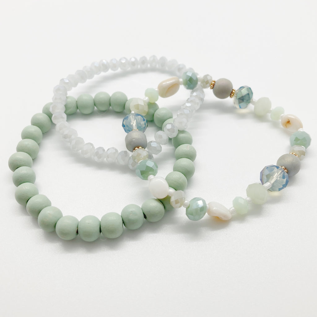 Beaded Bracelet Set-Seafoam Green