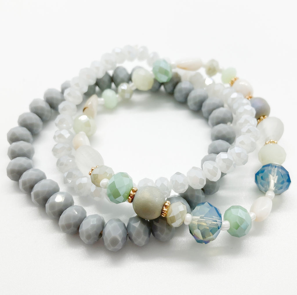 Beaded Bracelet Set-Blue Gray