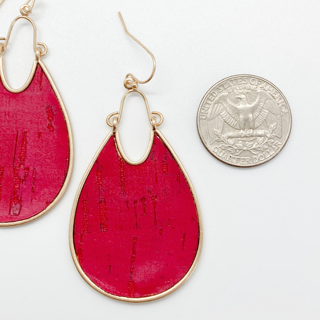 Fuchsia Cork Tear Drop Earrings