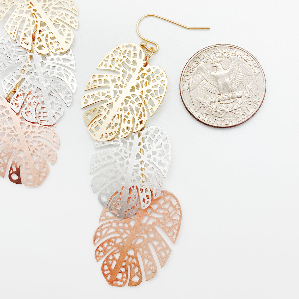 Tri Metal Layered Tropical Leaf Earrings