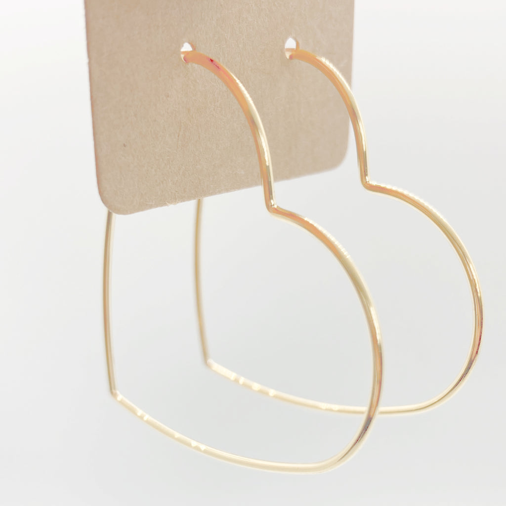 14Kt Gold Dipped Heart Hoops