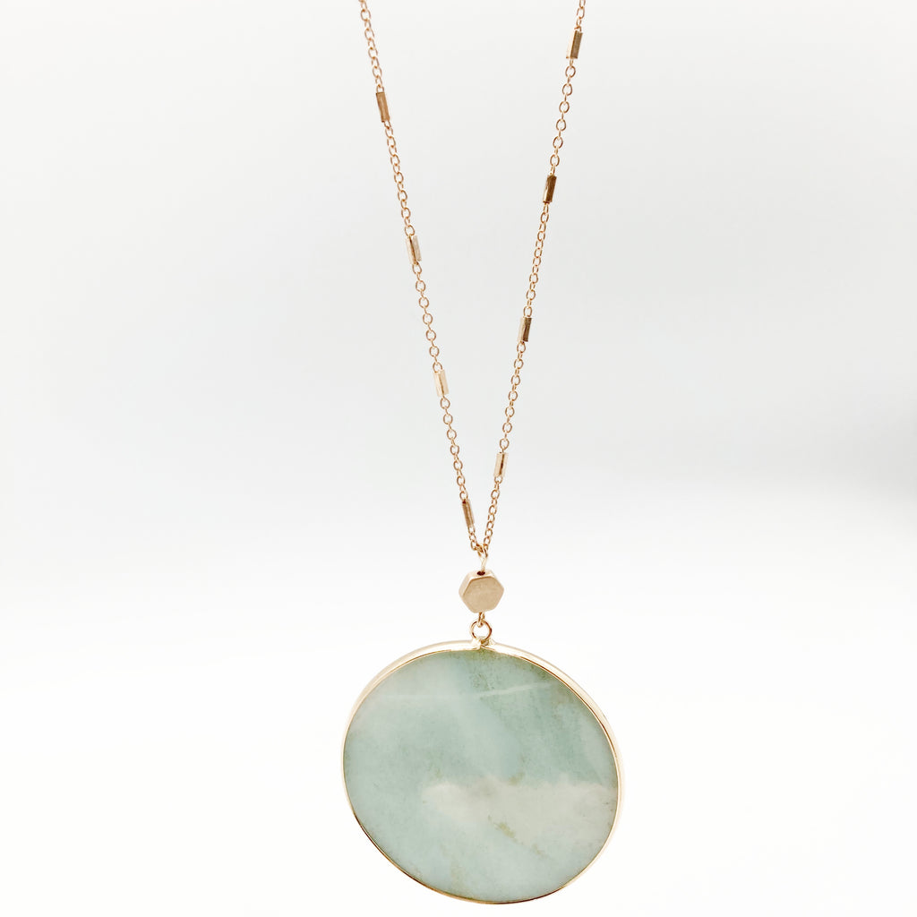 Round Stone Necklace-Amazonite