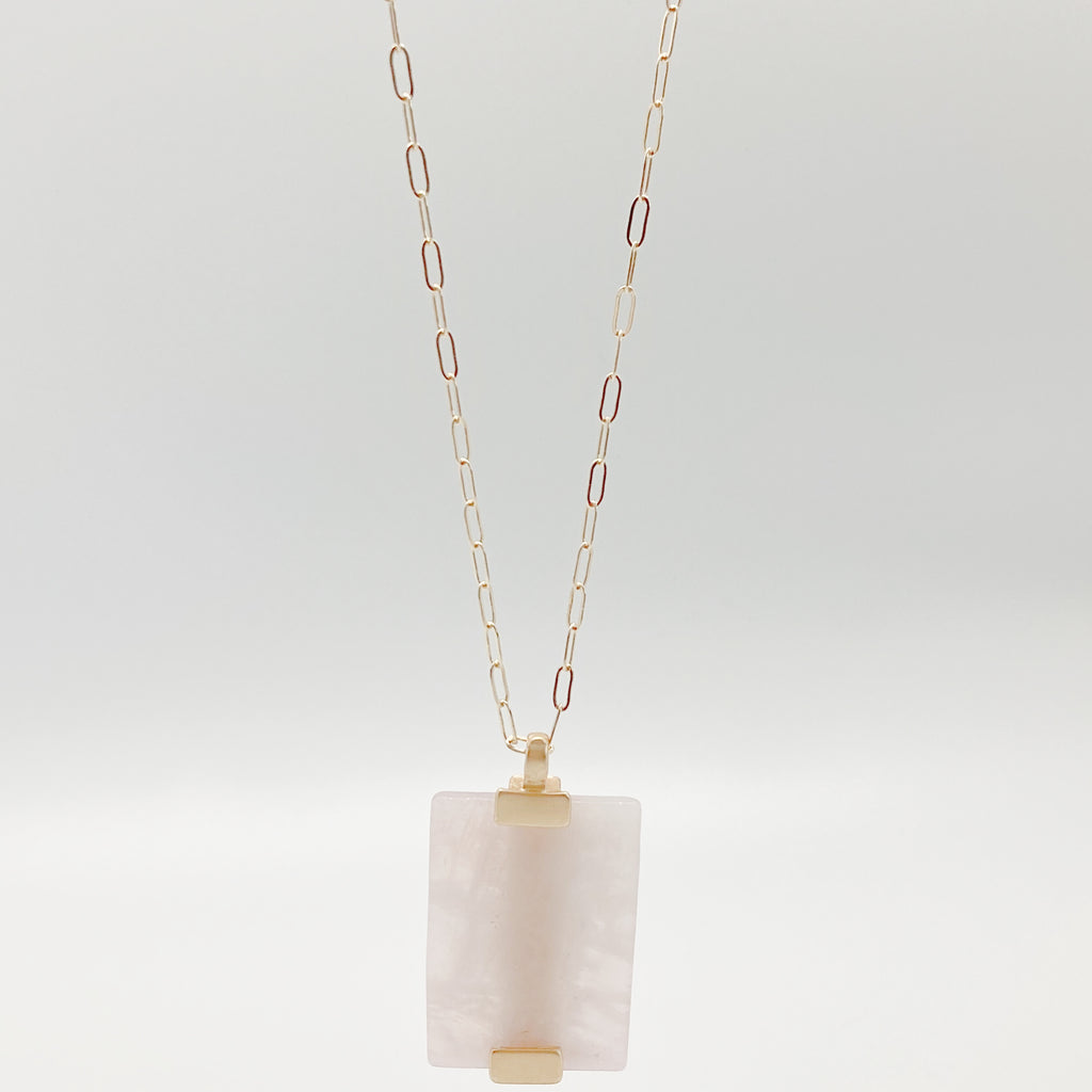 Semiprecious Pink Stone Pendant Necklace-Ractangle