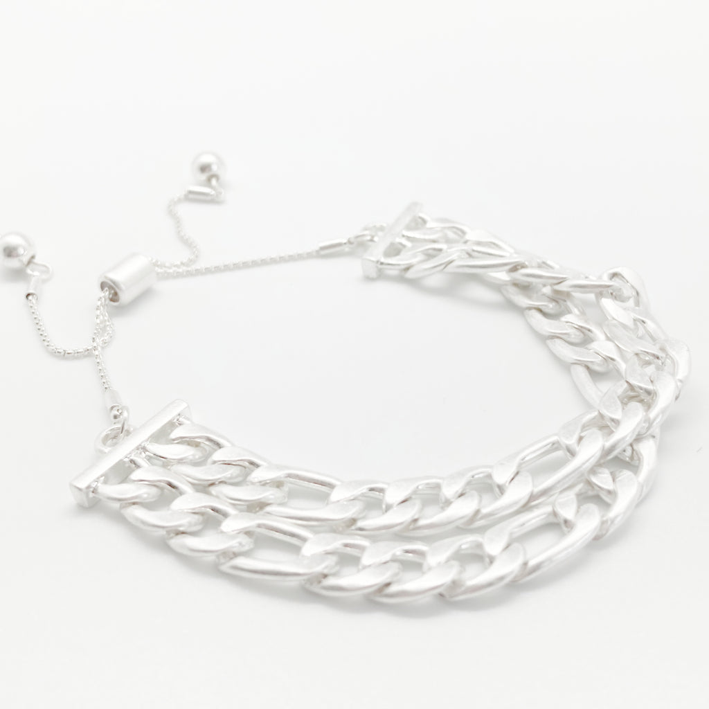 Layered Chain Bracelet-Silver