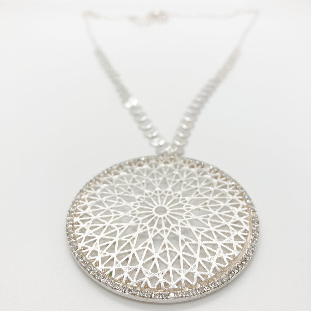 Bling-Filigree Pendant Necklace-Silver