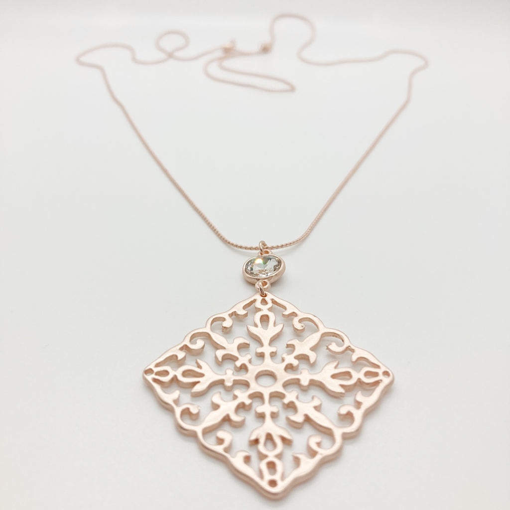 Filigree Pendant Necklace-Rose Gold