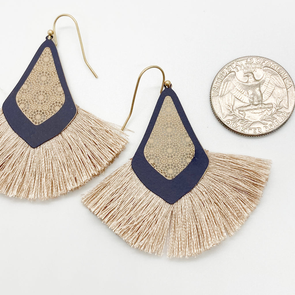 Two Tone Tassel Earrings-Navy/Beige