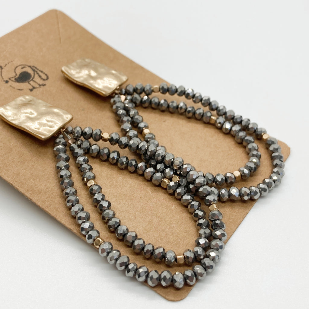 Double Layered Charcoal Bead Earrings