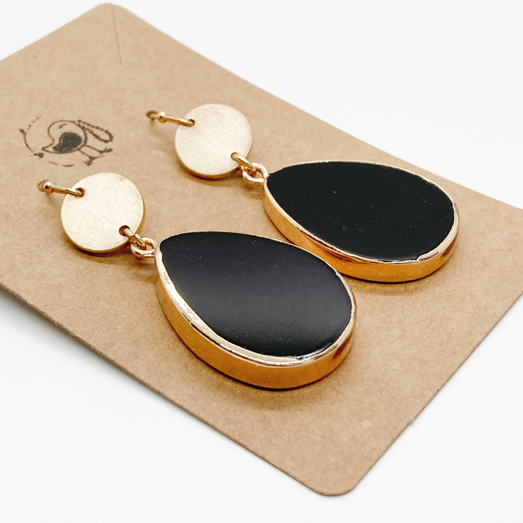 Smooth Black Stone Tear Drop Earrings