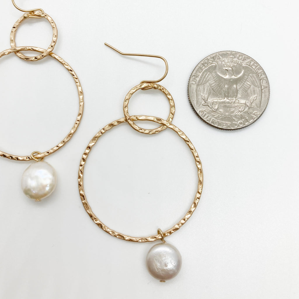 Double Hoop Pearl Drop Earrings