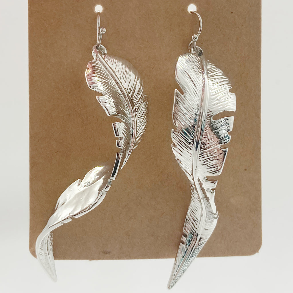 Shiny Leaf Drop Earrings-Silver