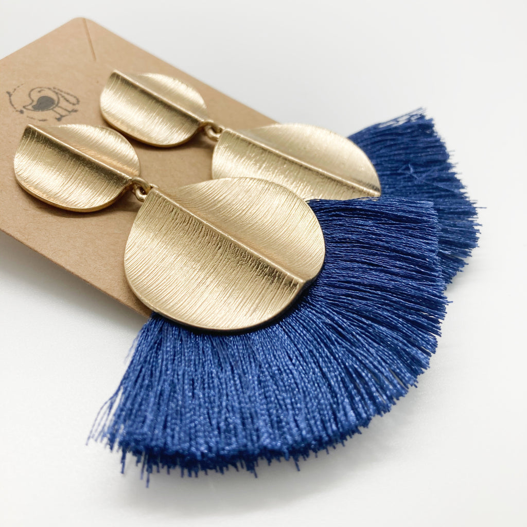 Gold Disc Tassel Earrings-Navy