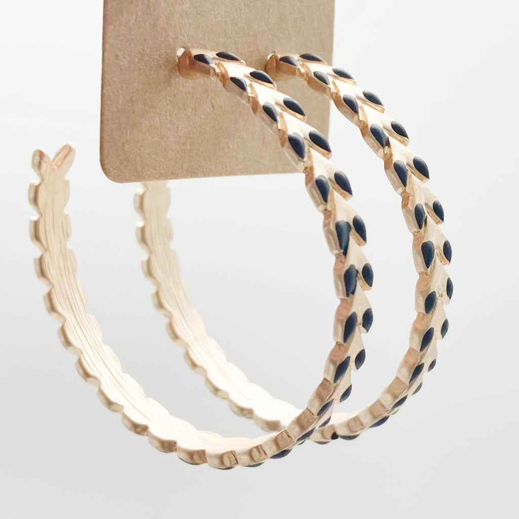 Modern Gold Hoops-Black