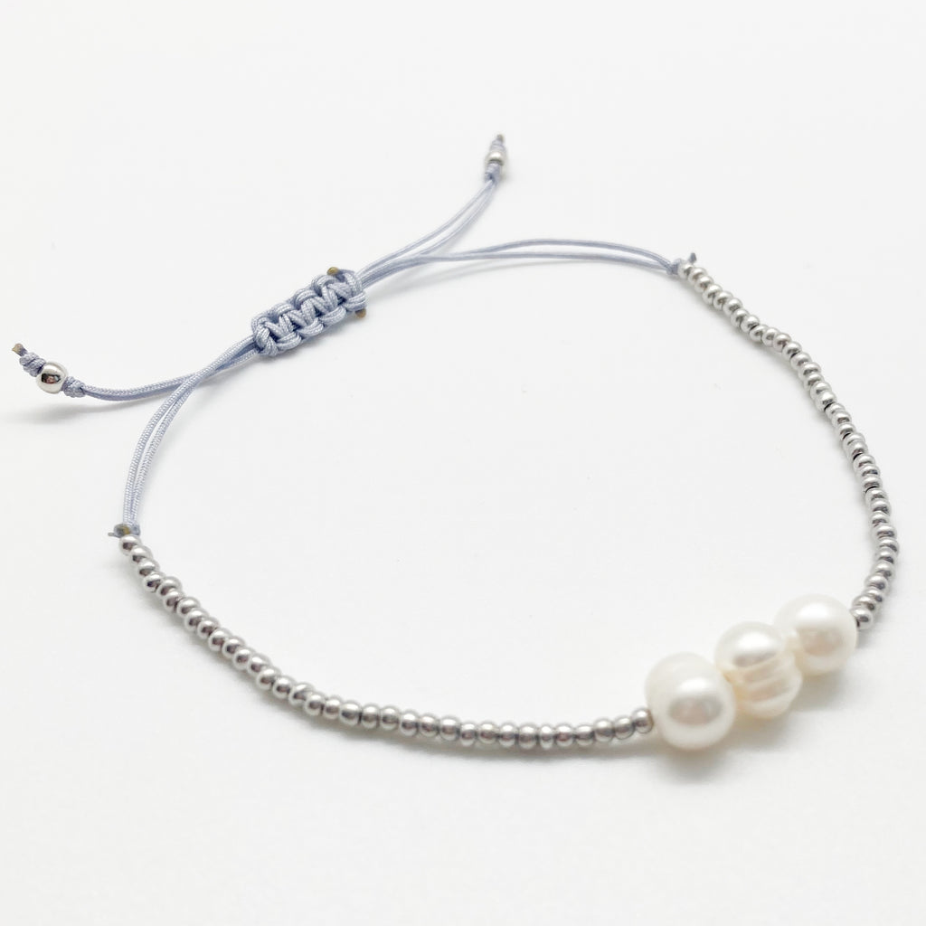 Pearl Beaded Bracelet-Gray/Blue