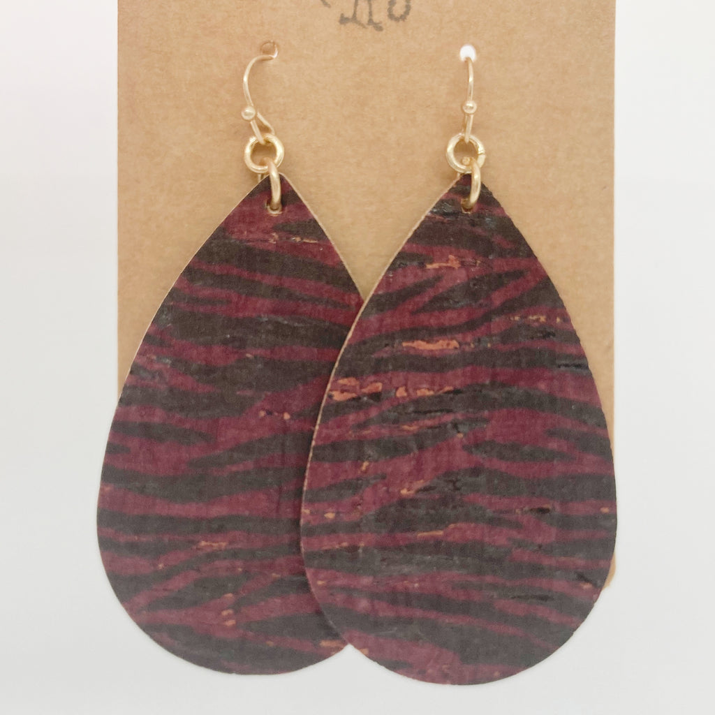 Cork Tiger Tear Drops-Burgundy