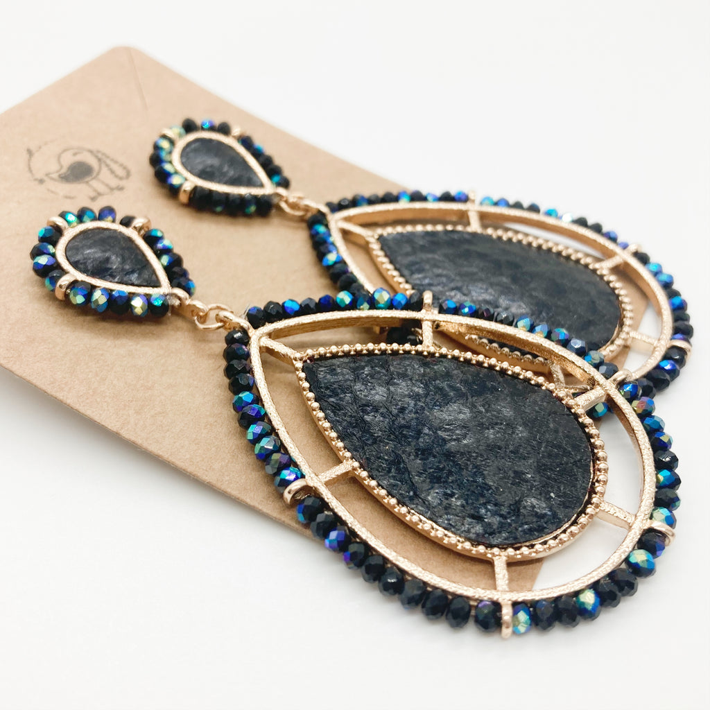 Leather Beaded Teardrops- Black