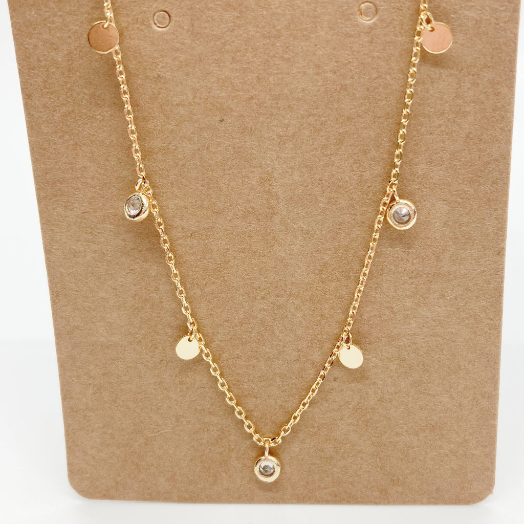 Multi-Mini Rhinestone Pendant Necklace