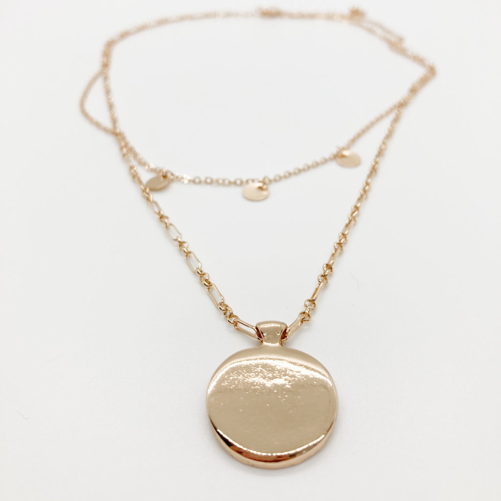Layered Chain Pendant Necklace- Gold