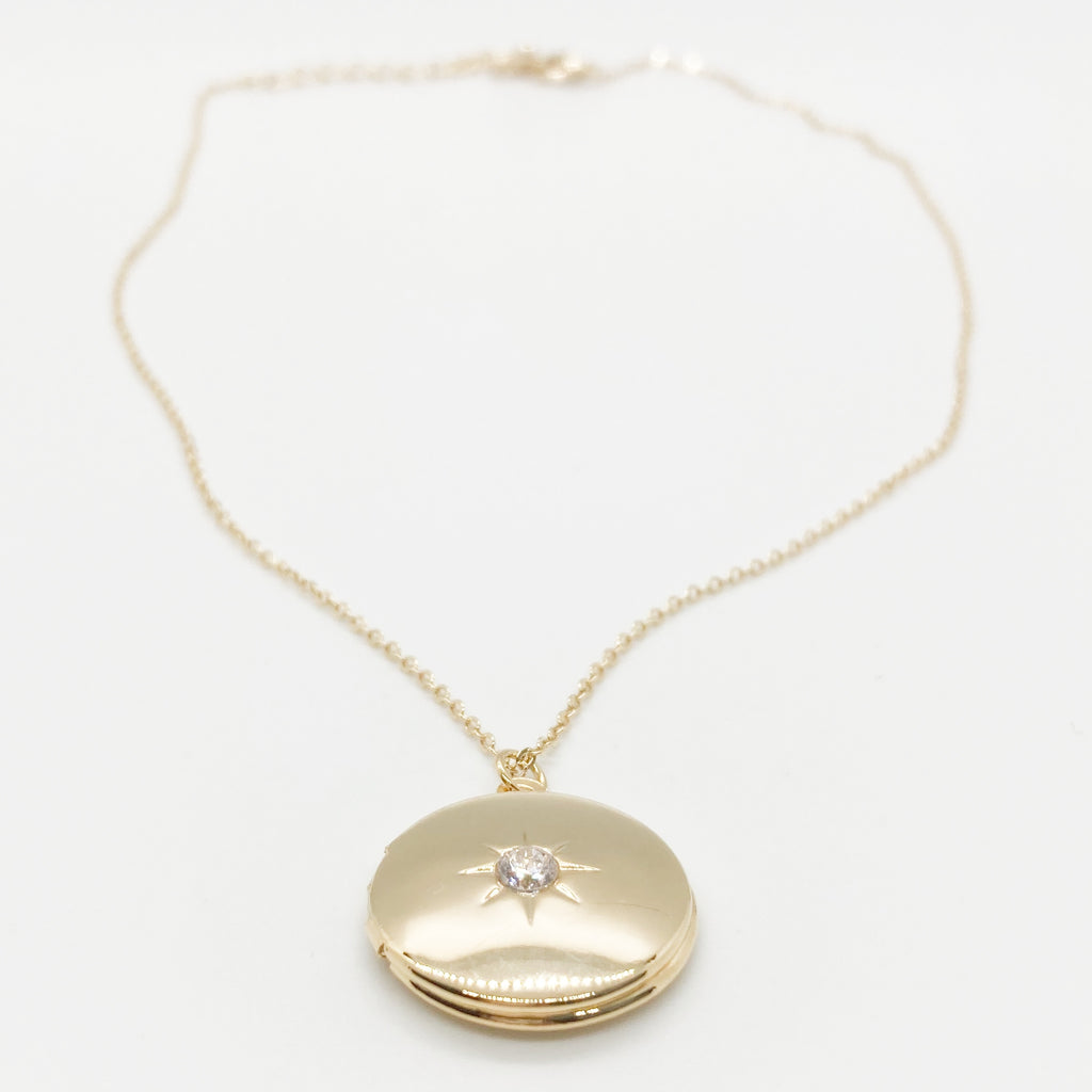 Starburst Locket Necklace-Gold