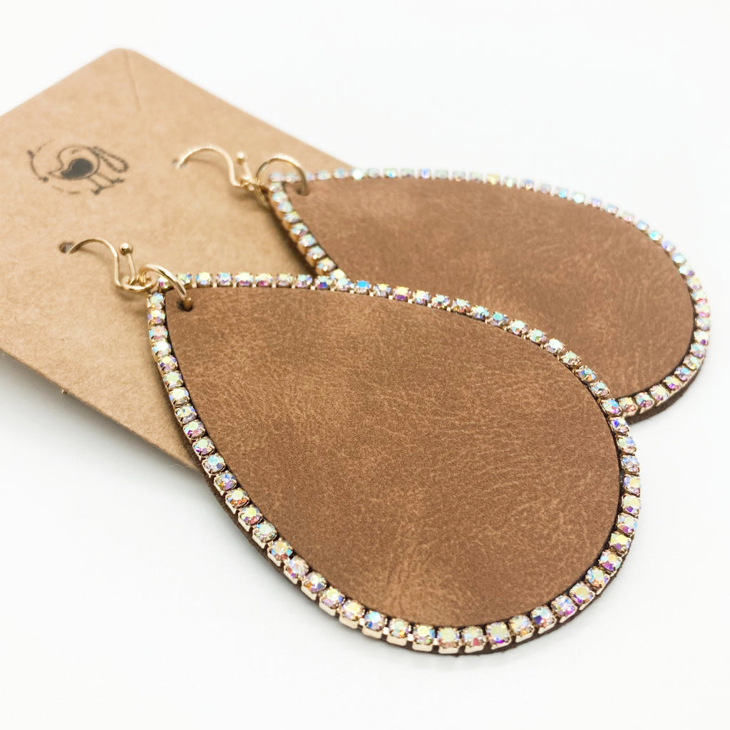 Faux Leather Tear Drops with Rhinestones Earrings