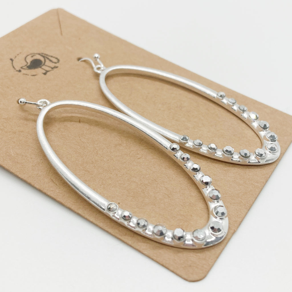 Rhinestone Oval Earrings-Silver