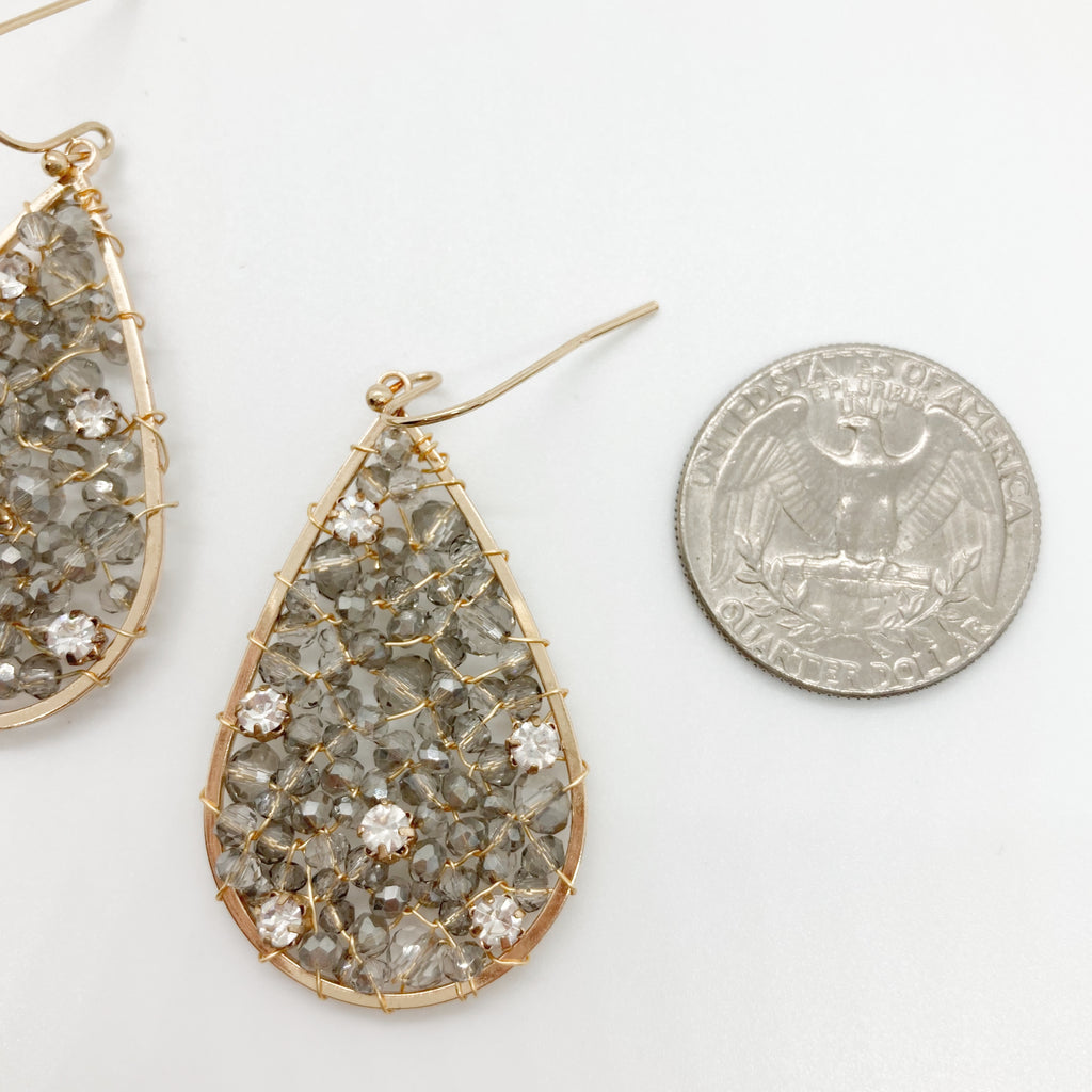 Beaded Tear Drops with Rhinestones