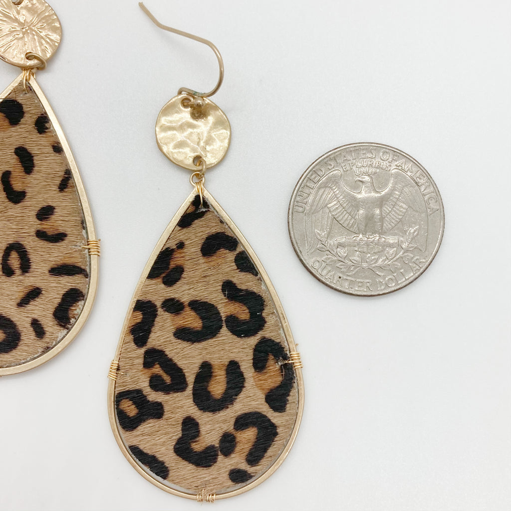 Leopard Tear Drop Earrings
