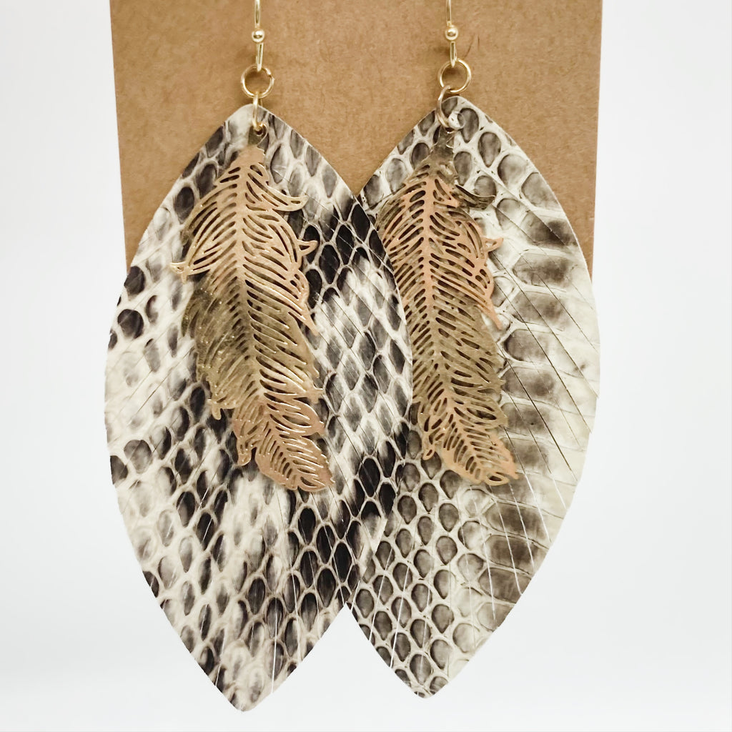 Snake Skin & Feather Earrings