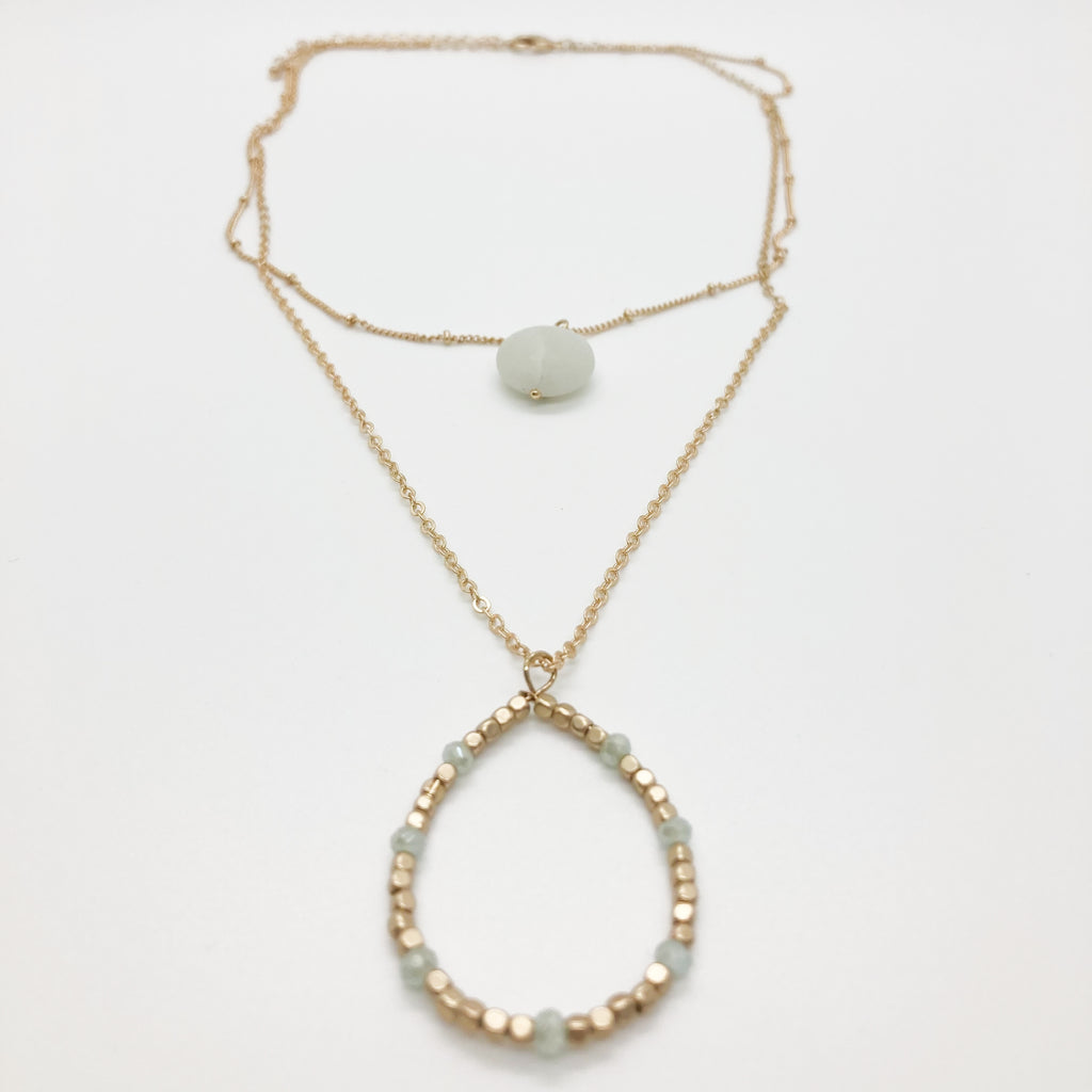 Layered Stone & Beaded Necklace- Aquamarine