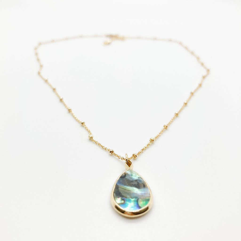 Mini Tear Drop Necklace-Abalone